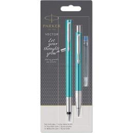 Długopis Vector + Pióro wieczne Parker turkusowe [DUOVECTOR5]Długopis Vector + Pióro wieczne Parker...