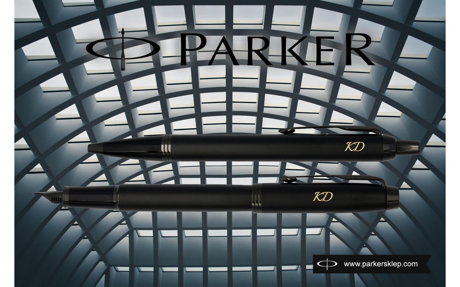 Pióro wieczne Parker IM oraz długopis Achromatic Czarny z grawerem