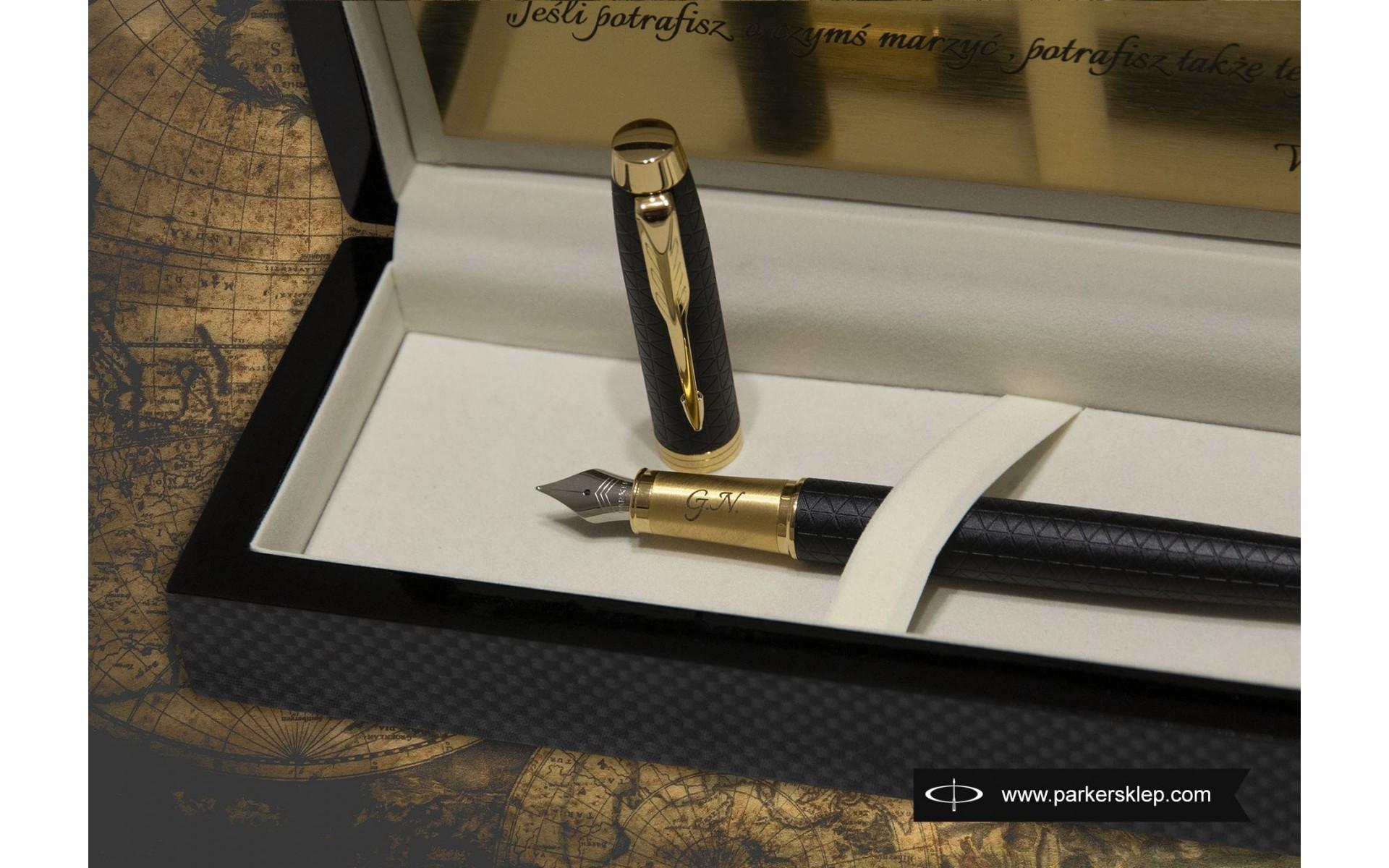 Pióro wieczne Parker IM Premium Czarny GT [1931646] z grawerem i złotą tabliczką