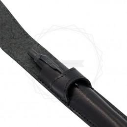 Skórzane, czarne etui z zaokrąglonymi bokami [E00136]