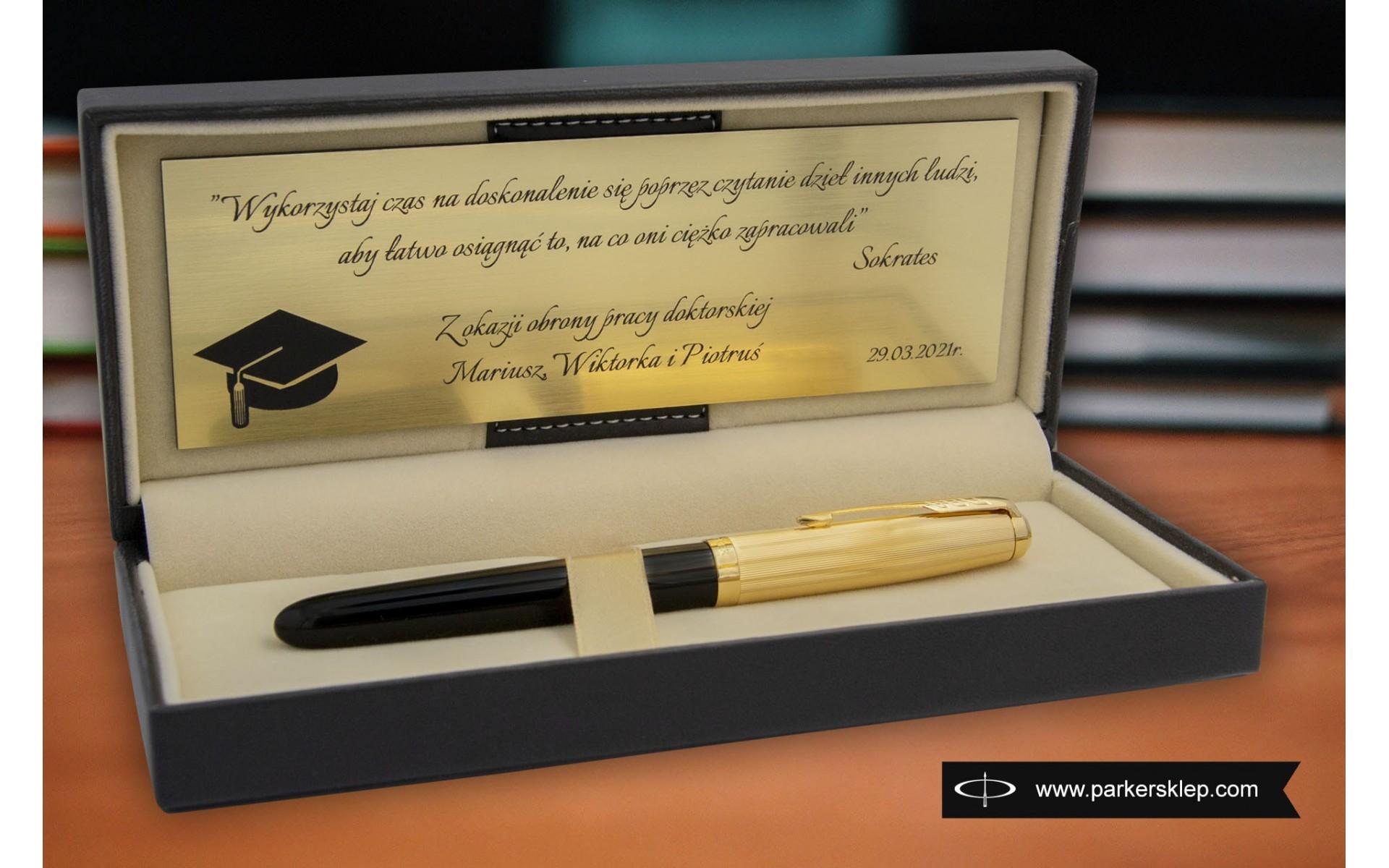 Pióro wieczne Parker 51 Premium czarne GT [2123511] w pudełku ze złotą tabliczką