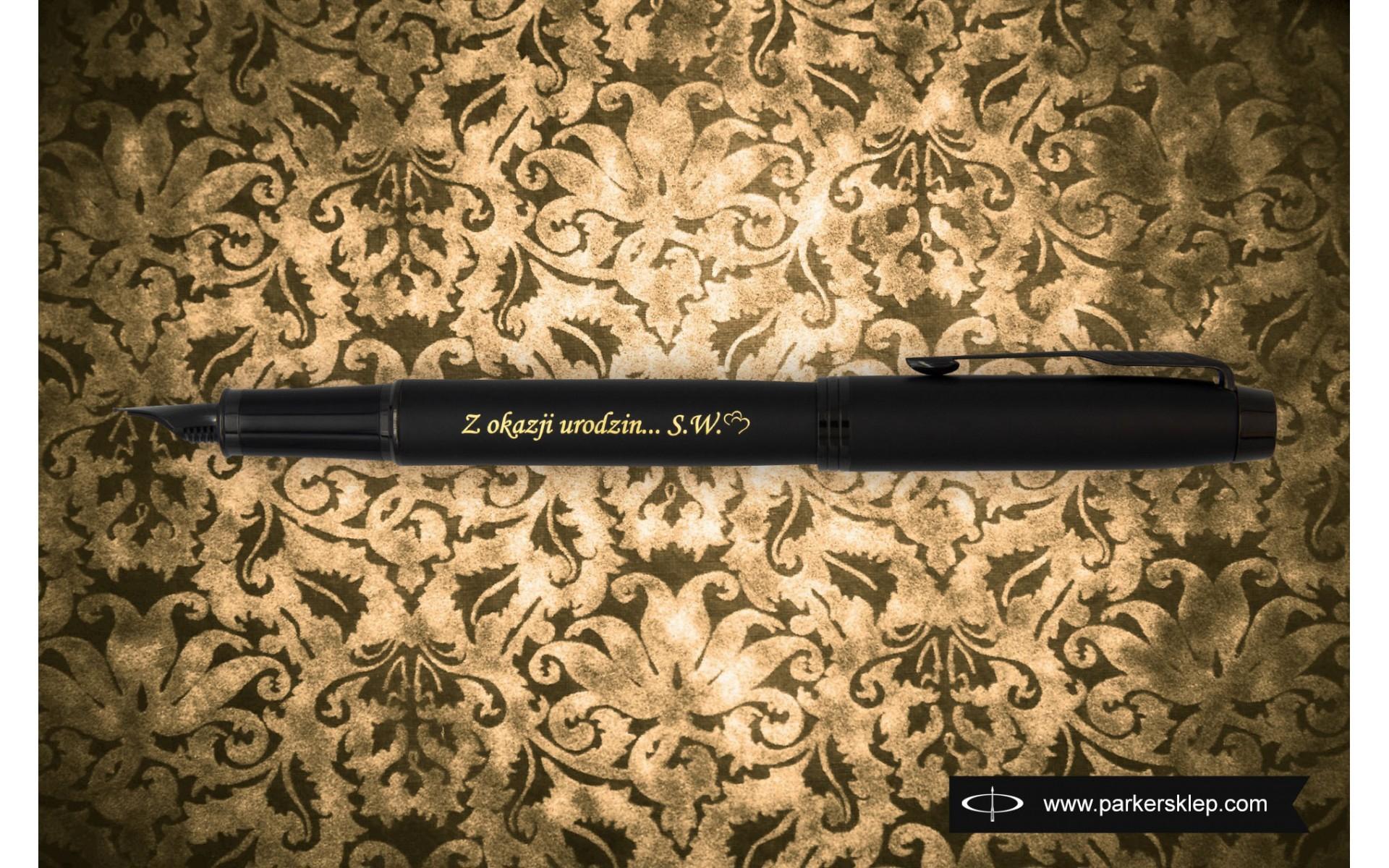 Pióro wieczne Parker IM Achromatic Czarne [212741] z urodzinowym grawerem