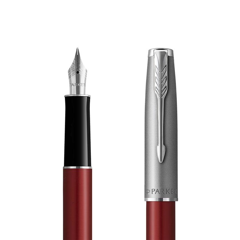Pióro wieczne Parker Sonnet Sand Blasted Metal Czerwone [2146736] w przekroju